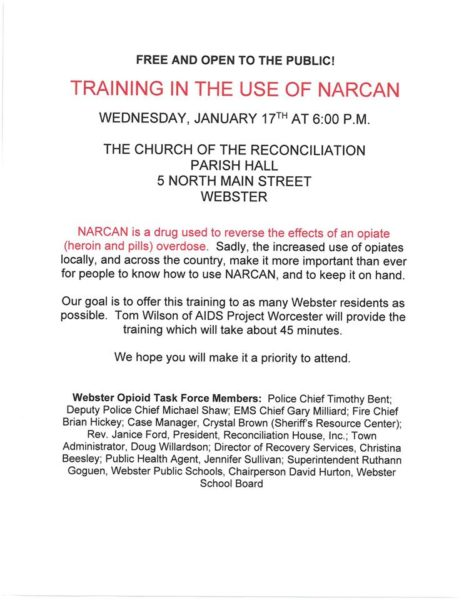 Narcan Training - POSTPONED DUE TO WEATHER @  Church Of The Reconciliation
