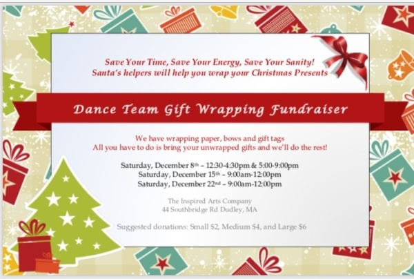 Christmas Wrapping Fundraiser @ The Inspired Arts Company